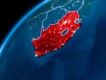 Χάρτης της Νότιας Αφρικής τη νύχτα στοκ φωτογραφία