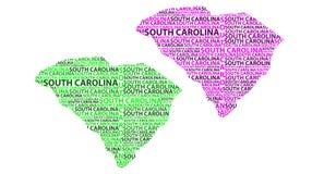 Χάρτης της νότιας Καρολίνας - διανυσματική απεικόνιση Απεικόνιση αποθεμάτων