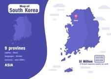 Χάρτης της Νότιας Κορέας Αριθμός γεωγραφίας πληθυσμών και κόσμων διανυσματική απεικόνιση