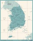 Χάρτης της Νότιας Κορέας - εκλεκτής ποιότητας διανυσματική απεικόνιση διανυσματική απεικόνιση