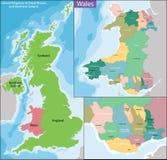 Χάρτης της Ουαλίας Στοκ φωτογραφίες με δικαίωμα ελεύθερης χρήσης