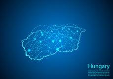 Χάρτης της Ουγγαρίας με τους κόμβους που συνδέονται από τις γραμμές έννοια του σφαιρικού commun διανυσματική απεικόνιση