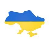 Χάρτης της Ουκρανίας με τη σημαία που απομονώνεται στο λευκό Στοκ Εικόνες