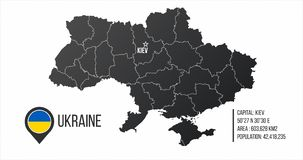 Χάρτης της Ουκρανίας με τις γενικές πληροφορίες infographics με τα editable χωρισμένα στρώματα, τις ζώνες, τα στοιχεία και την πε διανυσματική απεικόνιση