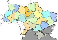 Χάρτης της Ουκρανίας Στοκ Φωτογραφία