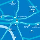 Χάρτης της περιοχής του δυτικού Λονδίνου συμπεριλαμβανομένου hammersmit flyover Στοκ εικόνες με δικαίωμα ελεύθερης χρήσης