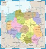 Χάρτης της Πολωνίας - λεπτομερής διανυσματική απεικόνιση Στοκ Εικόνα
