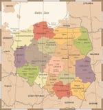 Χάρτης της Πολωνίας - λεπτομερής τρύγος διανυσματική απεικόνιση Στοκ φωτογραφίες με δικαίωμα ελεύθερης χρήσης