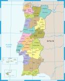 Χάρτης της Πορτογαλίας - λεπτομερής διανυσματική απεικόνιση Στοκ φωτογραφίες με δικαίωμα ελεύθερης χρήσης