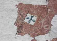 Χάρτης της Πορτογαλίας φιαγμένης από μάρμαρο Στοκ Εικόνες