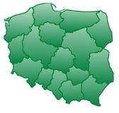 Χάρτης της Πολωνίας πράσινος Στοκ Εικόνες