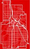 Χάρτης της πόλης της Μινεάπολη στο ύφος του επίπεδου σχεδίου στοκ εικόνες με δικαίωμα ελεύθερης χρήσης