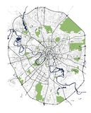 Χάρτης της πόλης της Μόσχας, Ρωσία απεικόνιση αποθεμάτων