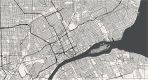Χάρτης της πόλης του Ντιτρόιτ, Μίτσιγκαν, ΗΠΑ διανυσματική απεικόνιση