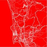 Χάρτης της πόλης του Σαν Ντιέγκο στο ύφος του επίπεδου σχεδίου στοκ φωτογραφία με δικαίωμα ελεύθερης χρήσης