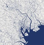 Χάρτης της πόλης του Τόκιο, Kanto, νησί Honshu, Ιαπωνία ελεύθερη απεικόνιση δικαιώματος