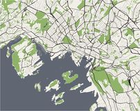Χάρτης της πόλης του Όσλο, Νορβηγία απεικόνιση αποθεμάτων