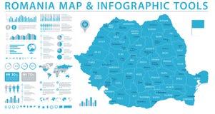 Χάρτης της Ρουμανίας - γραφική διανυσματική απεικόνιση πληροφοριών απεικόνιση αποθεμάτων