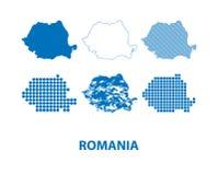 Χάρτης της Ρουμανίας - διανυσματικό σύνολο σκιαγραφιών στα διαφορετικά σχέδια ελεύθερη απεικόνιση δικαιώματος