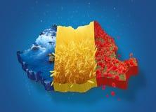 Χάρτης της Ρουμανίας τρισδιάστατος Στοκ Εικόνες