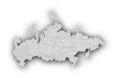Χάρτης της Ρωσίας στο παλαιό λινό Στοκ φωτογραφία με δικαίωμα ελεύθερης χρήσης