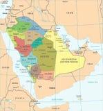Χάρτης της Σαουδικής Αραβίας - λεπτομερής διανυσματική απεικόνιση Στοκ Φωτογραφίες