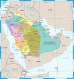 Χάρτης της Σαουδικής Αραβίας - λεπτομερής διανυσματική απεικόνιση Στοκ φωτογραφίες με δικαίωμα ελεύθερης χρήσης