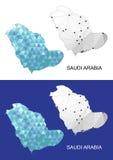 Χάρτης της Σαουδικής Αραβίας στο γεωμετρικό polygonal ύφος Αφηρημένο τρίγωνο πολύτιμων λίθων Στοκ Φωτογραφίες