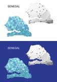 Χάρτης της Σενεγάλης στο γεωμετρικό polygonal ύφος Αφηρημένο τρίγωνο πολύτιμων λίθων Στοκ Φωτογραφίες