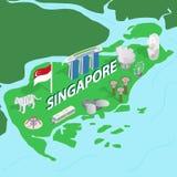 Χάρτης της Σιγκαπούρης, isometric τρισδιάστατο ύφος ελεύθερη απεικόνιση δικαιώματος