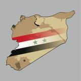 Χάρτης της Συρίας με μια συριακή σημαία κεντρική Στοκ εικόνες με δικαίωμα ελεύθερης χρήσης