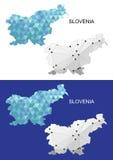 Χάρτης της Σλοβενίας στο γεωμετρικό polygonal ύφος Αφηρημένο τρίγωνο πολύτιμων λίθων Στοκ Εικόνες