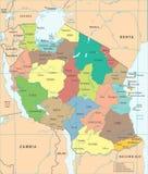 Χάρτης της Τανζανίας - λεπτομερής διανυσματική απεικόνιση Στοκ εικόνα με δικαίωμα ελεύθερης χρήσης