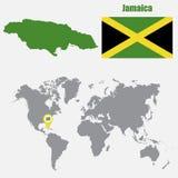 Χάρτης της Τζαμάικας σε έναν παγκόσμιο χάρτη με το δείκτη σημαιών και χαρτών επίσης corel σύρετε το διάνυσμα απεικόνισης διανυσματική απεικόνιση