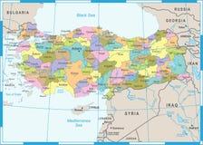 Χάρτης της Τουρκίας - διανυσματική απεικόνιση Στοκ Εικόνες