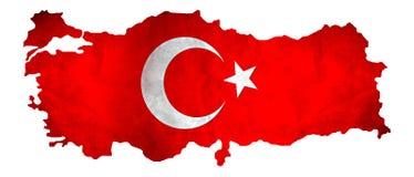 Χάρτης της Τουρκίας με τη σημαία στοκ εικόνα