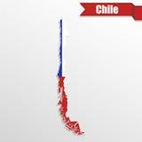 Χάρτης της Χιλής με το εσωτερικό και την κορδέλλα σημαιών απεικόνιση αποθεμάτων