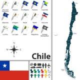 χάρτης της Χιλής Στοκ Εικόνες
