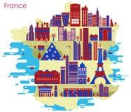 Χάρτης της χώρας Γαλλία με την οικοδόμηση και το διάσημο μνημείο Στοκ Εικόνες