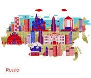 Χάρτης της χώρας Ρωσία με την οικοδόμηση και το διάσημο μνημείο διανυσματική απεικόνιση