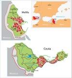 Χάρτης της Ceuta και του Melilla Στοκ φωτογραφία με δικαίωμα ελεύθερης χρήσης