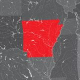 Χάρτης του Αρκάνσας με τις λίμνες και τους ποταμούς απεικόνιση αποθεμάτων