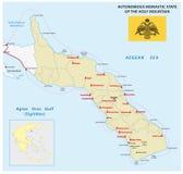 Χάρτης του αυτόνομου μοναστικού κράτους του ιερού βουνού με τη σημαία, Ελλάδα Στοκ φωτογραφία με δικαίωμα ελεύθερης χρήσης