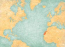 Χάρτης του βόρειου Ατλαντικού Ωκεανού - δυτική Σαχάρα ελεύθερη απεικόνιση δικαιώματος