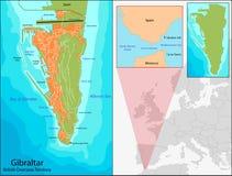 Χάρτης του Γιβραλτάρ Στοκ εικόνες με δικαίωμα ελεύθερης χρήσης