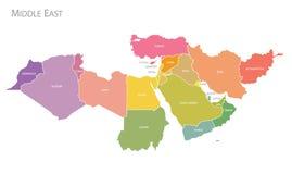 Χάρτης του διανύσματος της Μέσης Ανατολής ελεύθερη απεικόνιση δικαιώματος
