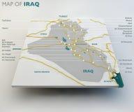 Χάρτης του Ιράκ, του ιρακινών κράτους, των ορίων, των δρόμων και των πόλεων απεικόνιση αποθεμάτων