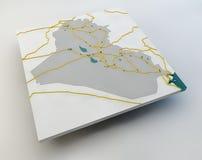 Χάρτης του Ιράκ, του ιρακινών κράτους, των ορίων, των δρόμων και των πόλεων ελεύθερη απεικόνιση δικαιώματος