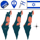 Χάρτης του Ισραήλ με τις ονομασμένες περιοχές Στοκ Εικόνες