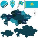 χάρτης του Καζακστάν Στοκ Εικόνα